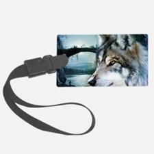 romantic moonlight wild wolf Luggage Tag