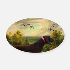vintage hunting pointer dog Oval Car Magnet