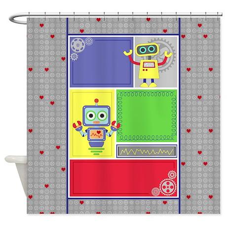 Unisex Robot Bedroom Decor Shower Curtain By MonicaJoyDesigns
