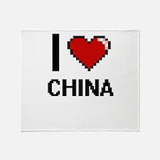 I Love China Digital Design Throw Blanket