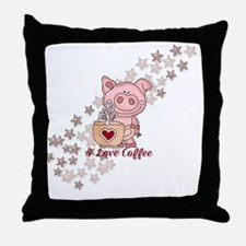 Piglet Loves Coffee Throw Pillow