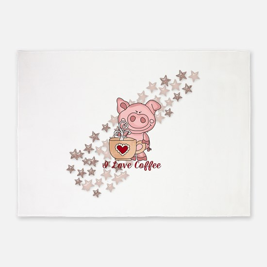 Piglet Loves Coffee 5'x7'Area Rug