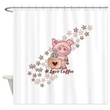 Piglet Loves Coffee Shower Curtain