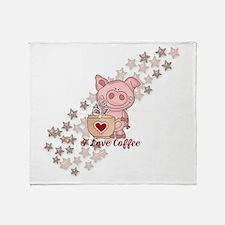 Piglet Loves Coffee Throw Blanket