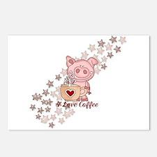 Piglet Loves Coffee Postcards (Package of 8)