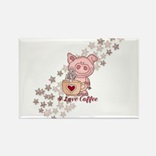 Piglet Loves Coffee Magnets