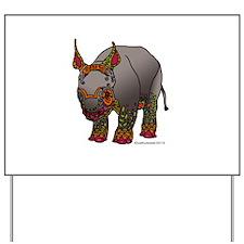 Zentangle Baby Rhino Yard Sign