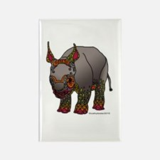 Zentangle Baby Rhino Rectangle Magnet