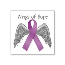 """Wings of Hope in Purple Square Sticker 3"""" x 3"""""""