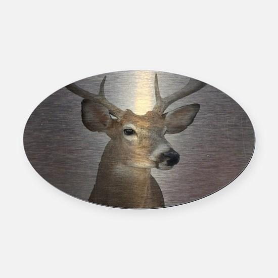 grunge texture western deer Oval Car Magnet