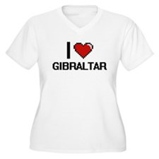 I Love Gibraltar Digital Design Plus Size T-Shirt