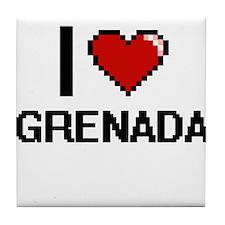 I Love Grenada Digital Design Tile Coaster