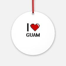 I Love Guam Digital Design Round Ornament