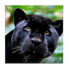 Black Panther Cat Tile Coaster