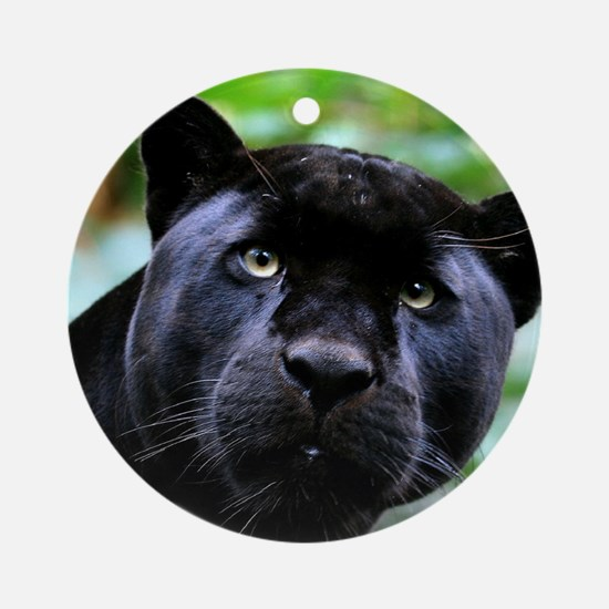 Black Panther Cat Round Ornament