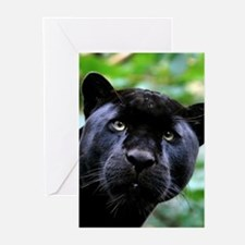 Black Panther Cat Greeting Cards
