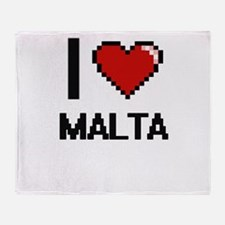 I Love Malta Digital Design Throw Blanket