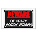 Scott Designs Beware of Crazy Women Sticker (Recta