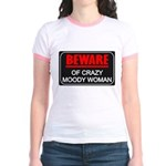 Scott Designs Beware of Crazy Women Jr. Ringer T-S