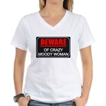 Scott Designs Beware of Crazy Women Women's V-Neck