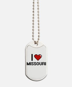I Love Missouri Digital Design Dog Tags