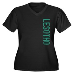 Lesotho Women's Plus Size V-Neck Dark T-Shirt