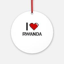 I Love Rwanda Digital Design Round Ornament