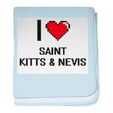 I Love Saint Kitts & Nevis Digital De baby blanket