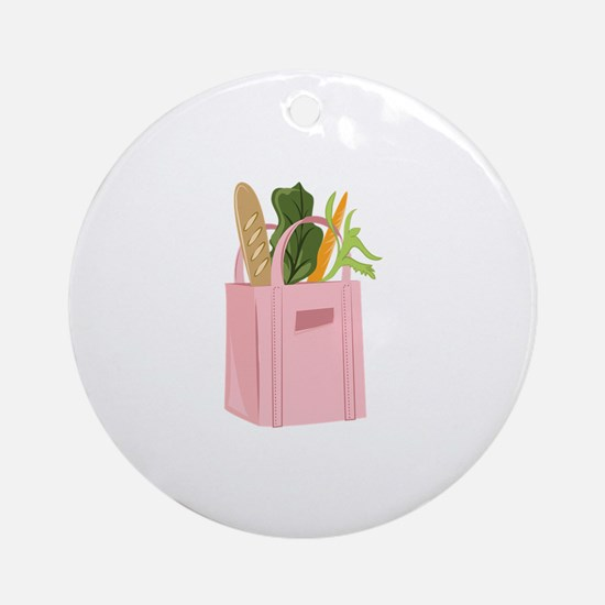 Bag Of Groceries Round Ornament