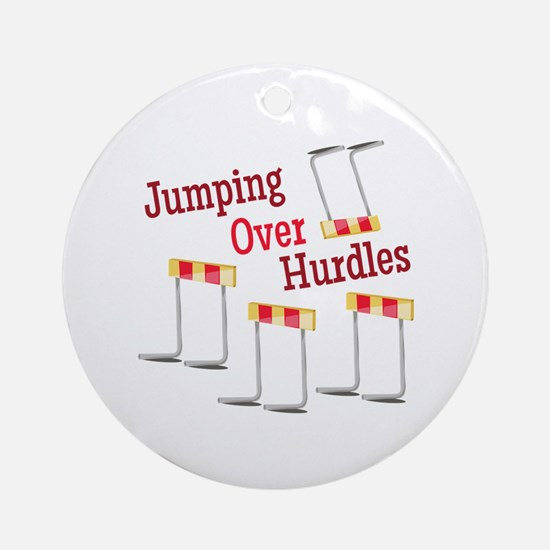 Jumping Hurdles Round Ornament