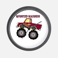 Monster Truck Madness Wall Clock