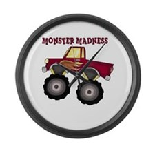 Monster Truck Madness Large Wall Clock