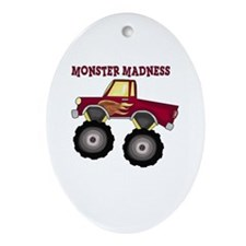 Monster Truck Madness Oval Ornament