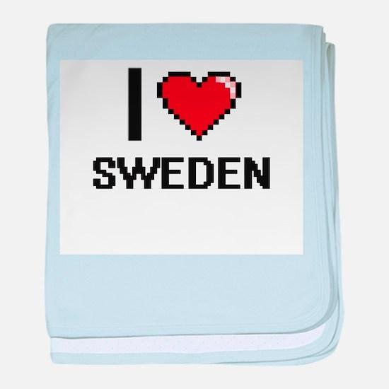 I Love Sweden Digital Design baby blanket