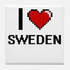 I Love Sweden Digital Design Tile Coaster