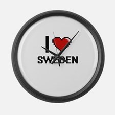 I Love Sweden Digital Design Large Wall Clock