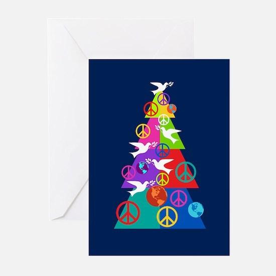 Rainbow Peace Holiday Tree Greeting Cards