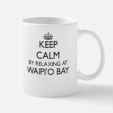 Keep calm by relaxing at Waipi'O Bay Hawaii Mugs