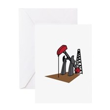 OIL RIG AND DERRICK Greeting Cards