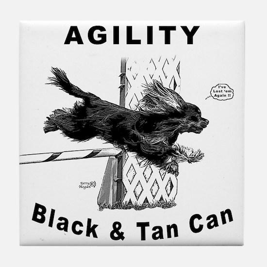 Black & Tan Cavalier Agility Tile Coaster
