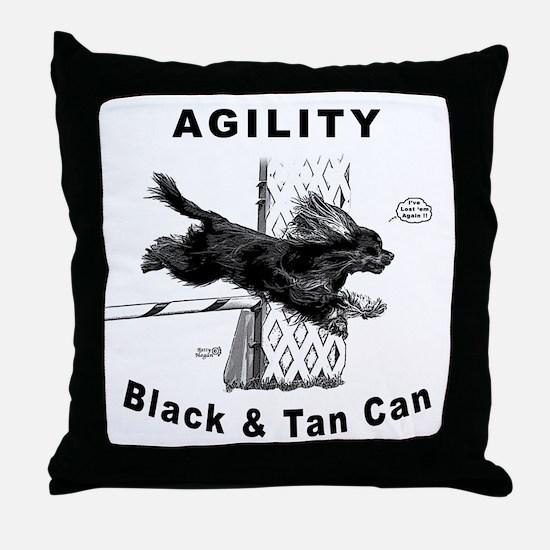 Black & Tan Cavalier Agility Throw Pillow