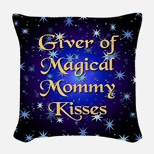 MOMMYkissbleedround.png Woven Throw Pillow
