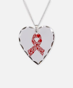 Red Awareness Ribbon Necklace Heart Charm