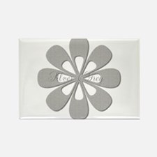 Chic Silver Flower Rectangle Magnet