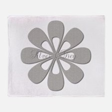 Chic Silver Flower Throw Blanket