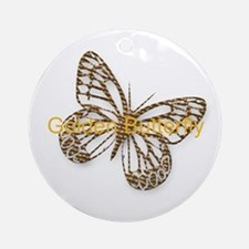 Cute Gold Butterfly Round Ornament