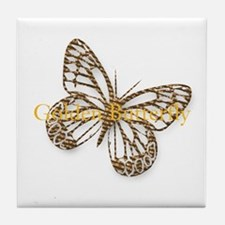 Cute Gold Butterfly Tile Coaster