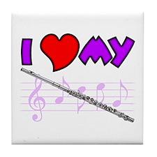 I Heart My Flute Tile Coaster