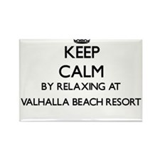 Keep calm by relaxing at Valhalla Beach Re Magnets