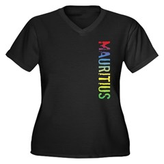 Mauritius Women's Plus Size V-Neck Dark T-Shirt
